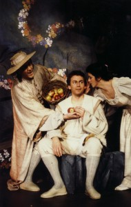 """Rousseaus """"Der Dorfwahrsager"""" - Philipp Langshaw links, Barbara Locher rechts und Randal Rushing"""