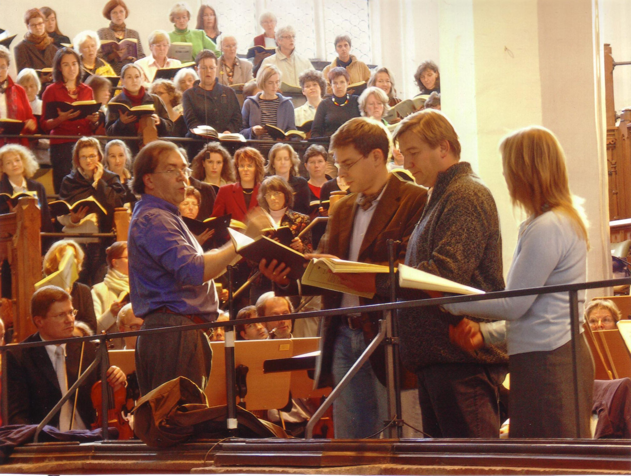 Probe zum Paulus in der Thomaskirche mit R. Klepper, C. Bieber und H. Müller-Brachmann sowie dem Gewandhaus-Orchester.