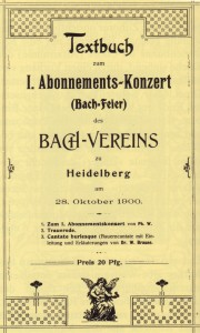 Textbuch Bachfeier 1900 aus dem Archiv des Bachchores